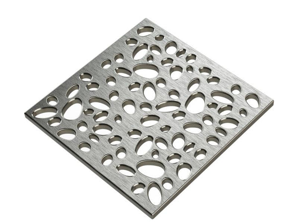 Square Shower Drain Assembly Kit With Pebbles Pattern, Brushed Stainless Steel Grate Cover, WarmlyYours Pro GEN II