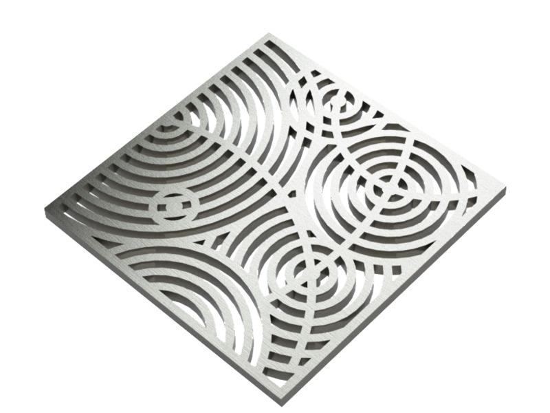 Square Shower Drain Assembly Kit With Ripples Pattern, Brushed Stainless Steel Grate Cover, WarmlyYours Pro GEN II