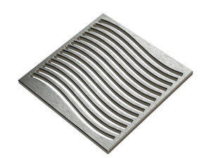 Square Shower Drain Assembly Kit With Waves Pattern, Polished Stainless Steel Grate Cover, WarmlyYours Pro GEN II
