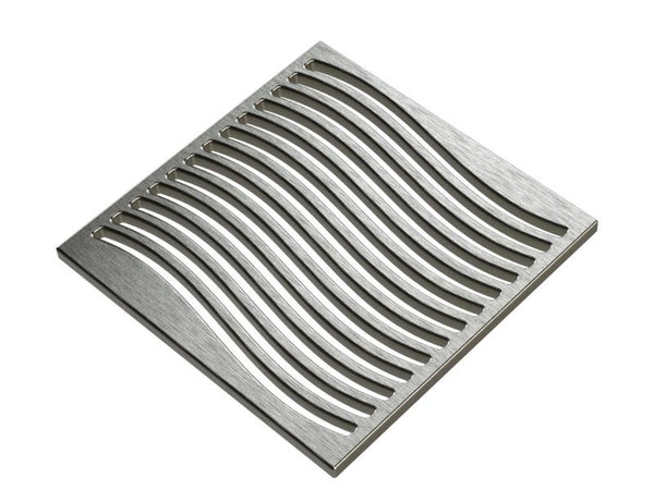 Square Shower Drain Assembly Kit With Waves Pattern, Brushed Stainless Steel Grate Cover, WarmlyYours Pro GEN II