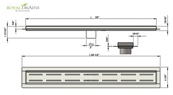 Royal Linear Shower Drain Broken Lane Design 59 Inch by Serene Steam