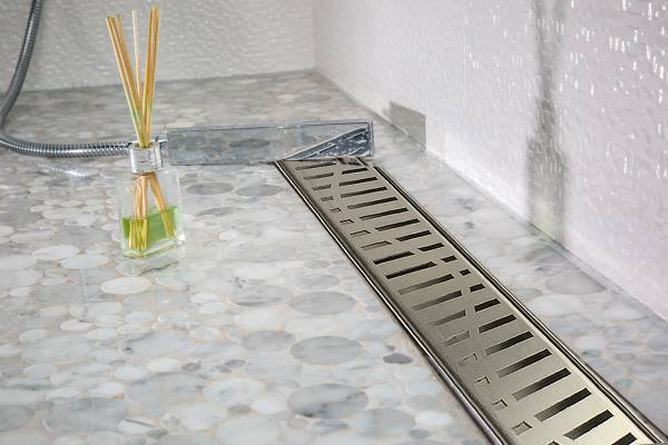 Royal Linear Shower Drain Wind Design by Serene Steam