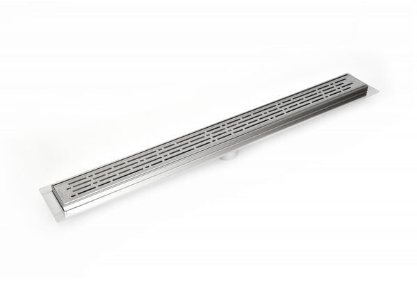 SereneDrains 39 Inch Linear Shower Drain Brushed Nickel Broken Lane Design