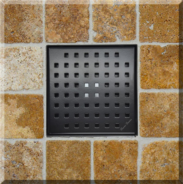 Serene Drains 6 Inch Chrome Square Drains, Traditional Square Design