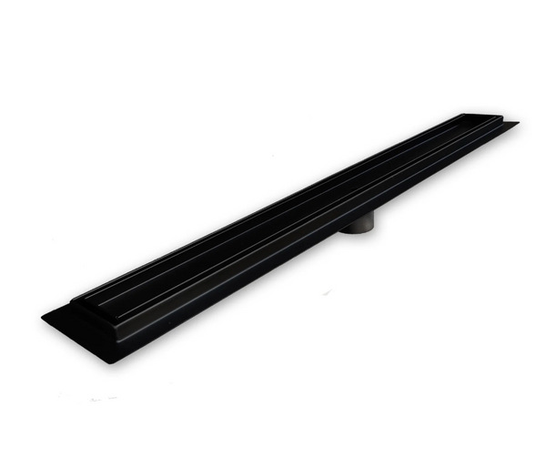 39 Inch Matte Black Tile Insert Linear Shower Drain by SereneDrains