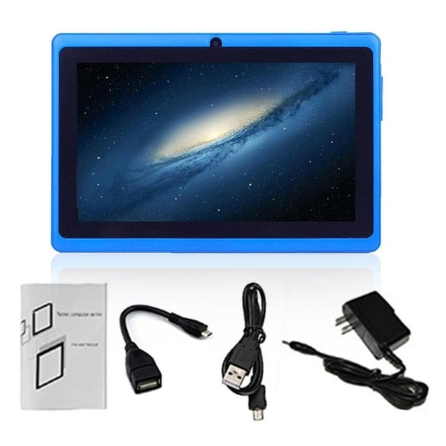 New Blue Tablet Computer 7 Inch HD Screen Android Quad-core Tablet PC 1GB+16GB 2.0MP Camera Support TF Card