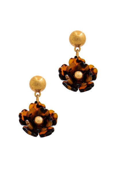 Fashion Poly Carbonate Flower Drop Earring