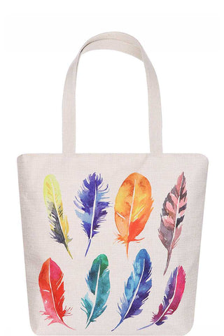 Fashion Multi Color Feather Water Color Print Ecco Tote Bag