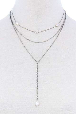 Triple Layer Pearl Drop Accent Y Necklace