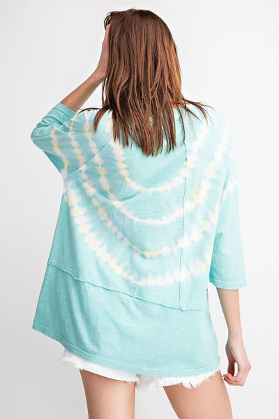 3/4 Sleeves Special Washed Boxy Cotton Slub Top