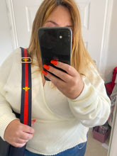 Load image into Gallery viewer, Navy and Red Bee Stripe Bag Strap