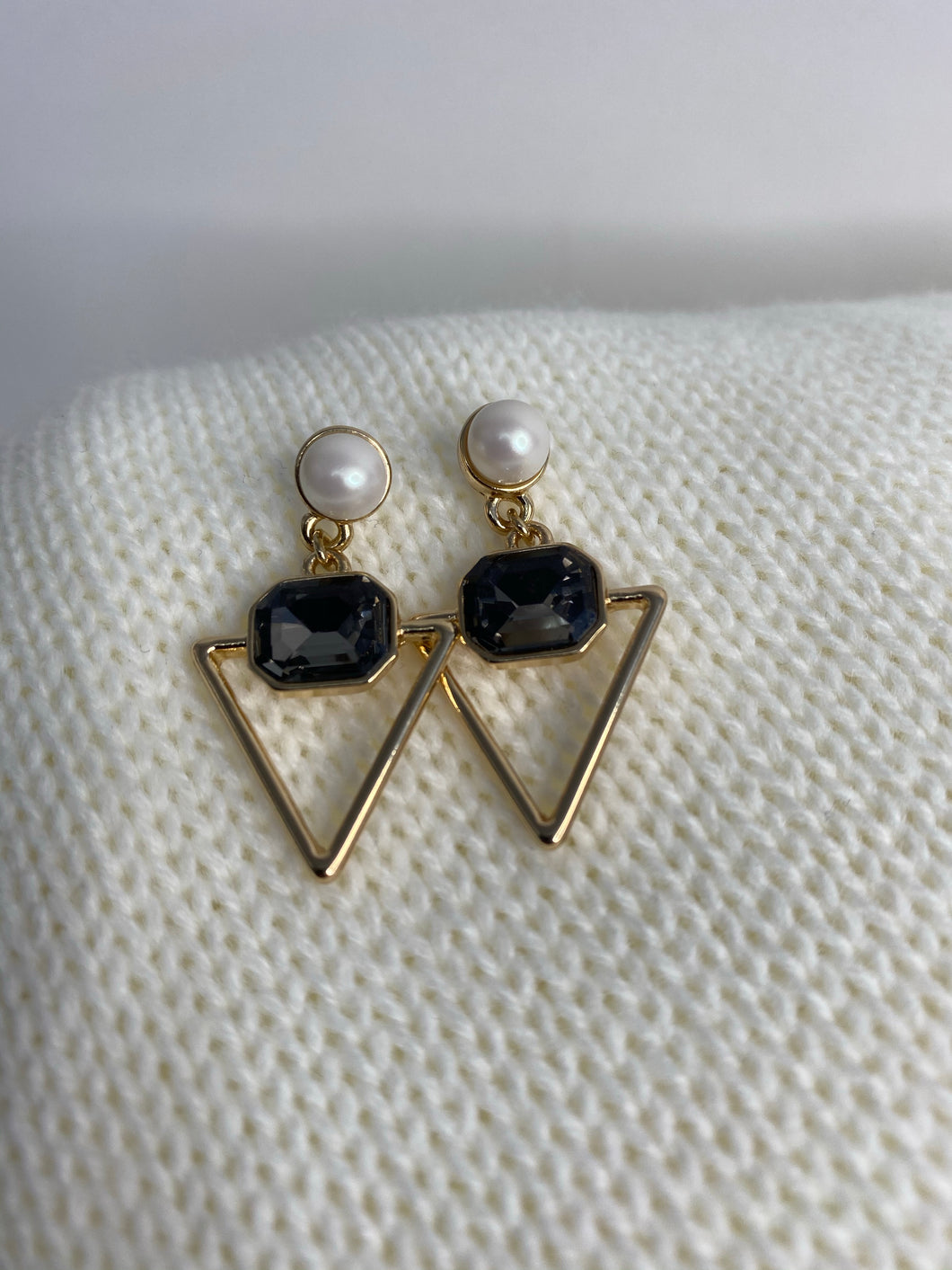 Gold and Pearl Eva Drop Earrings