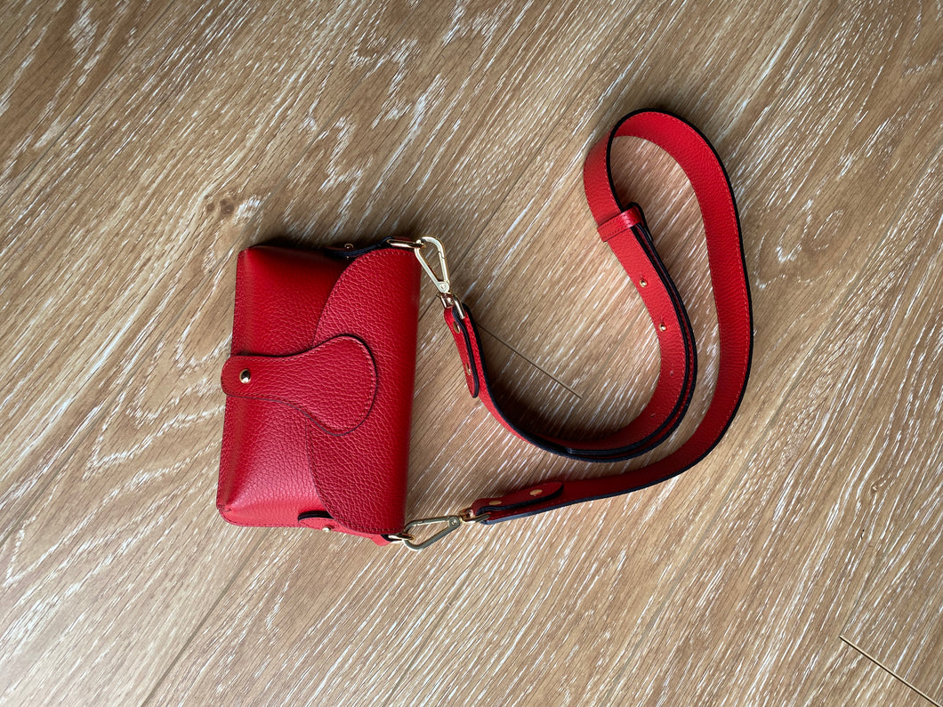 Red chunky strap crossbody bag