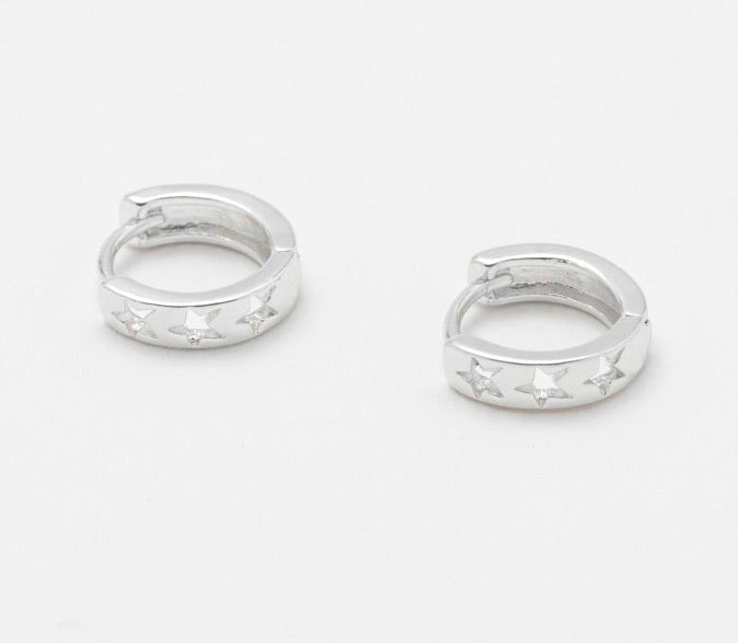 Silver Cut Out Star Huggie Hoops