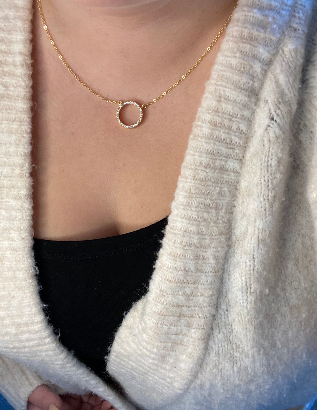 Gold Ana Circular Pendant Necklace