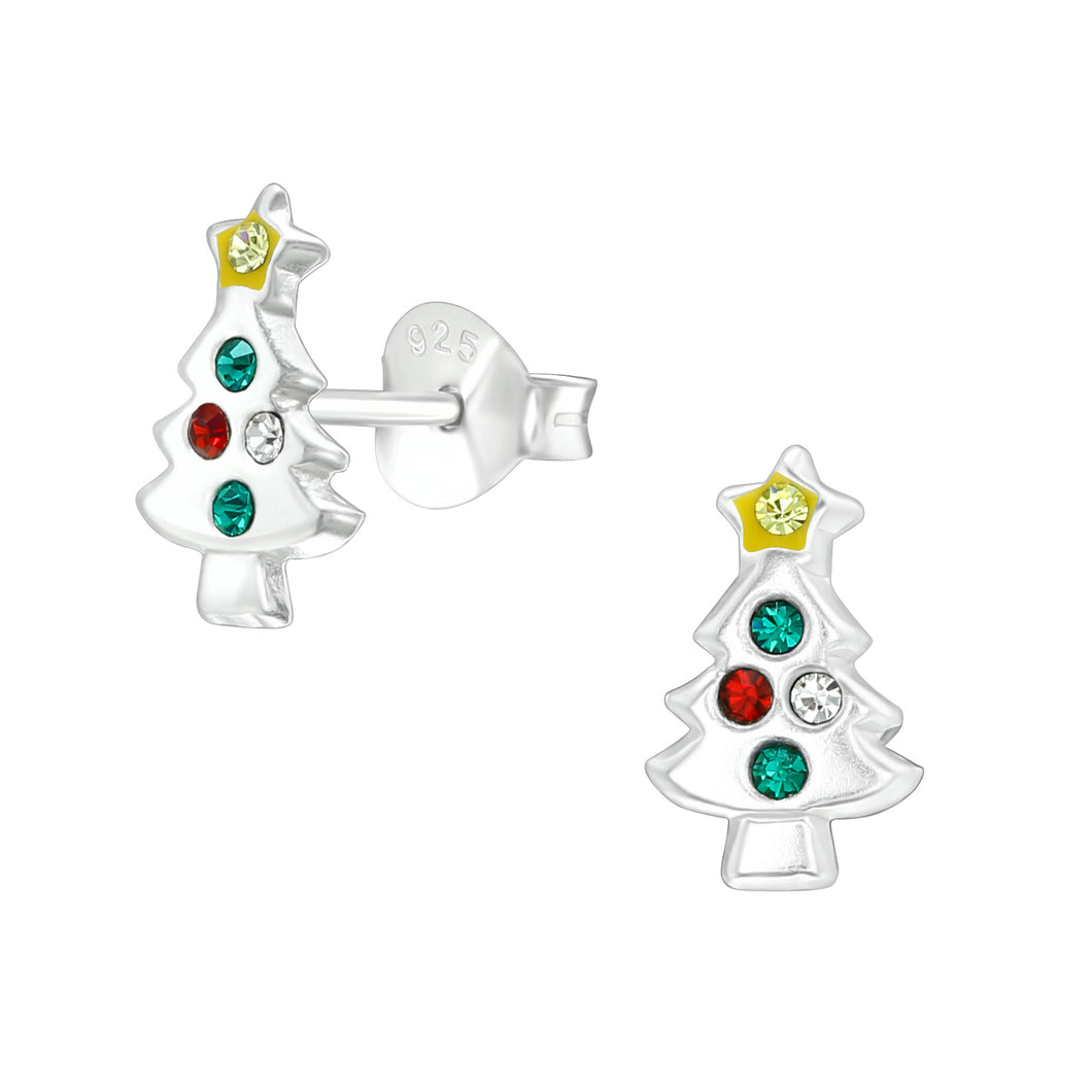 Silver Sparkly Christmas Tree Stud Earrings