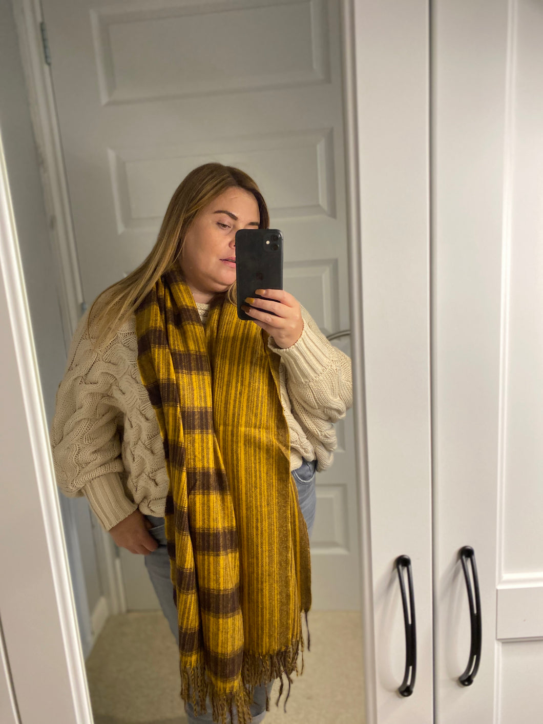 Mustard and Brown Cosy Scarf