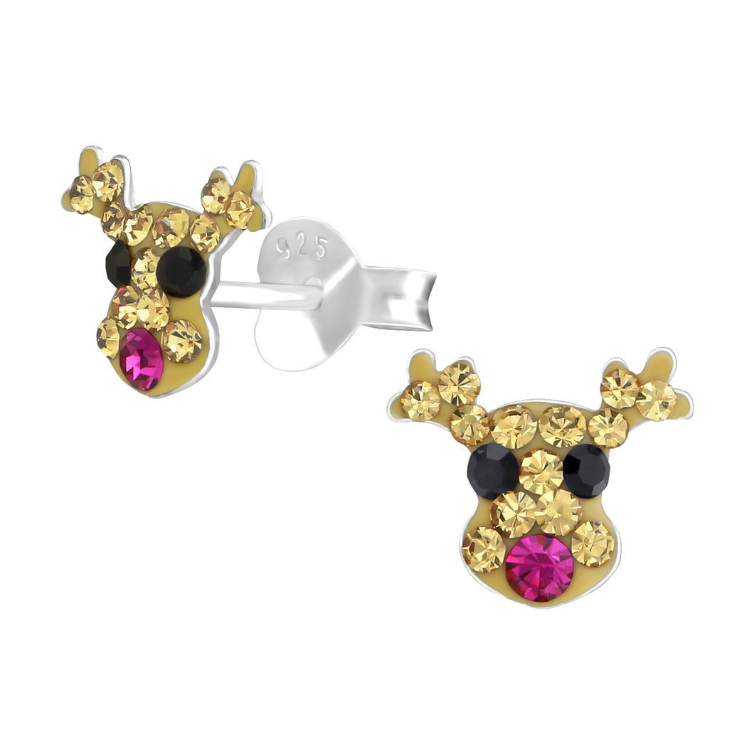 Silver Rudolph The Pink Nosed Reindeer Stud Earrings