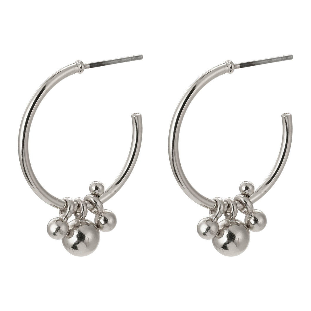 Silver Earth Hoop Earrings