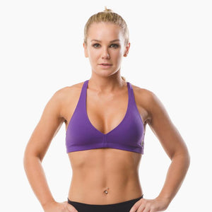 Load image into Gallery viewer, ZAAZEE Abi Racer-back Sports bra Purple Pout