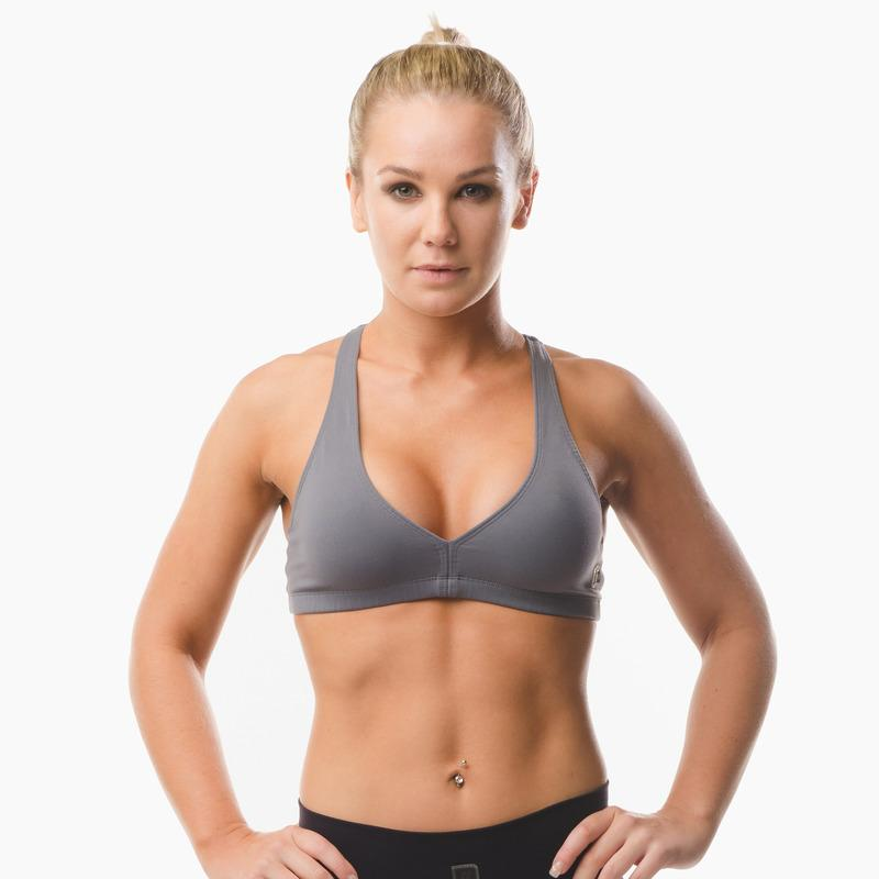 Load image into Gallery viewer, ZAAZEE Abi Racer-back Sports bra Storm Grey