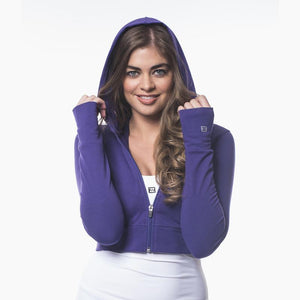 Load image into Gallery viewer, ZAAZEE Amelia Cropped Hoodie Purple Pout