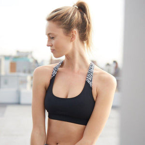 Load image into Gallery viewer, ZAAZEE Ellie Racer-back Sports bra Jet Black / Anthracite Grey
