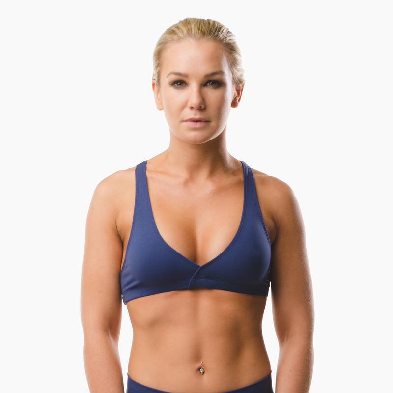 Load image into Gallery viewer, ZAAZEE Emi Cross-back Sports Bra Midnight Blue