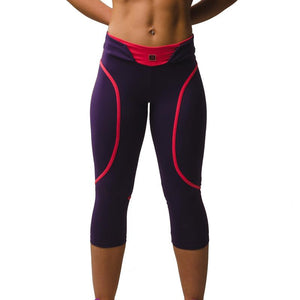 Load image into Gallery viewer, ZAAZEE Eszter 3/4 Capri Gym Legging Eminence Purple / Salmon Pink