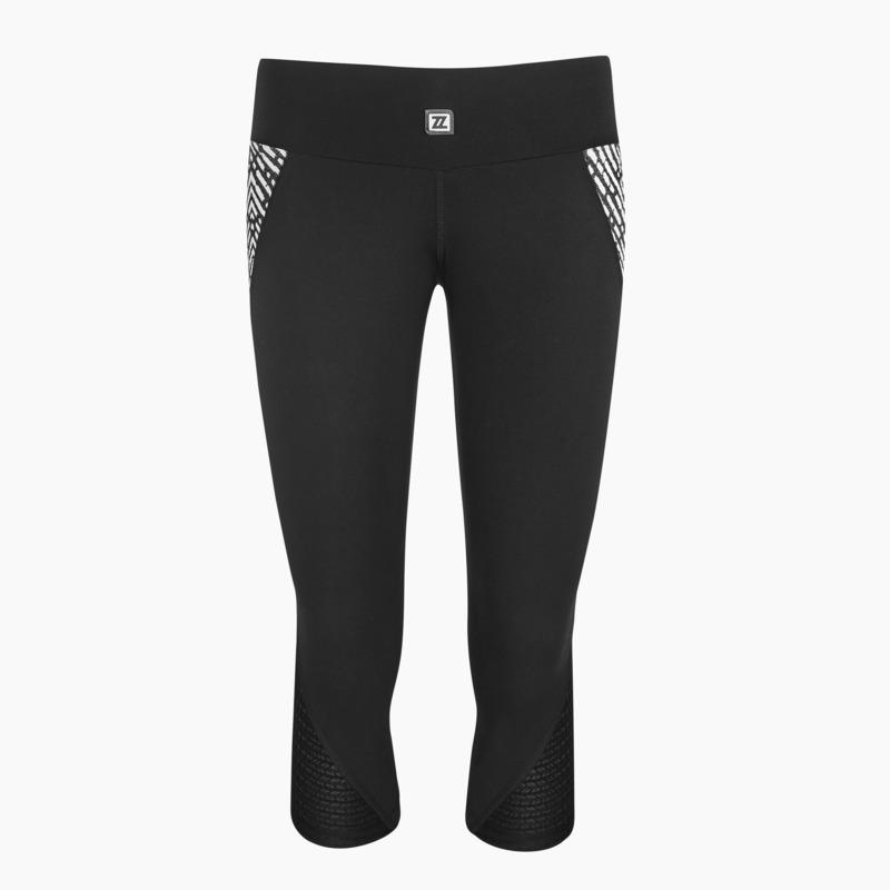 Load image into Gallery viewer, ZAAZEE Zadie 3/4 Capri Legging Jet Black / Black & White Textured