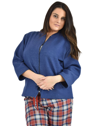 Women's Bed Jacket with Zipper