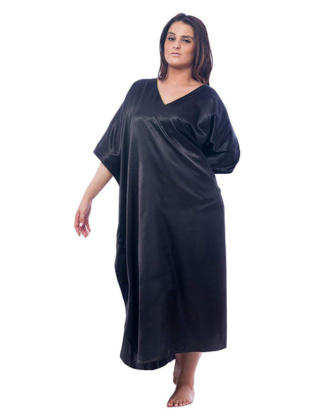 Women's Long Satin Caftans / Kaftans / Muumuus, Three-Piece Solid Color Value Pack 24