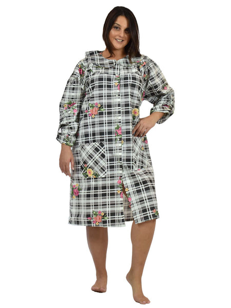 Women's House Dress in a Black-and-White Print