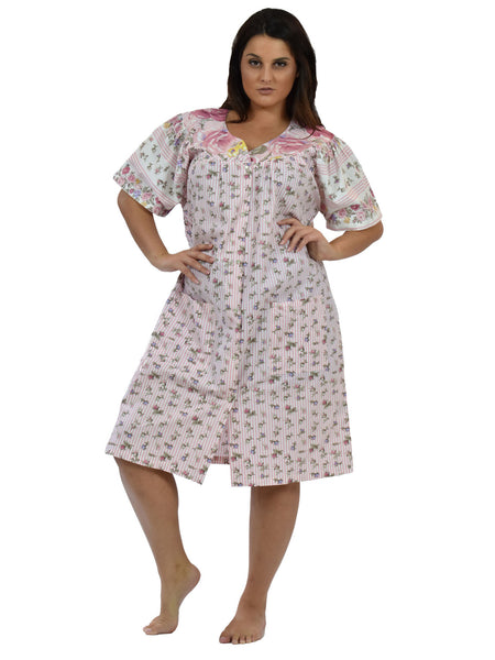 Women's House Dress in a Pink Floral Print