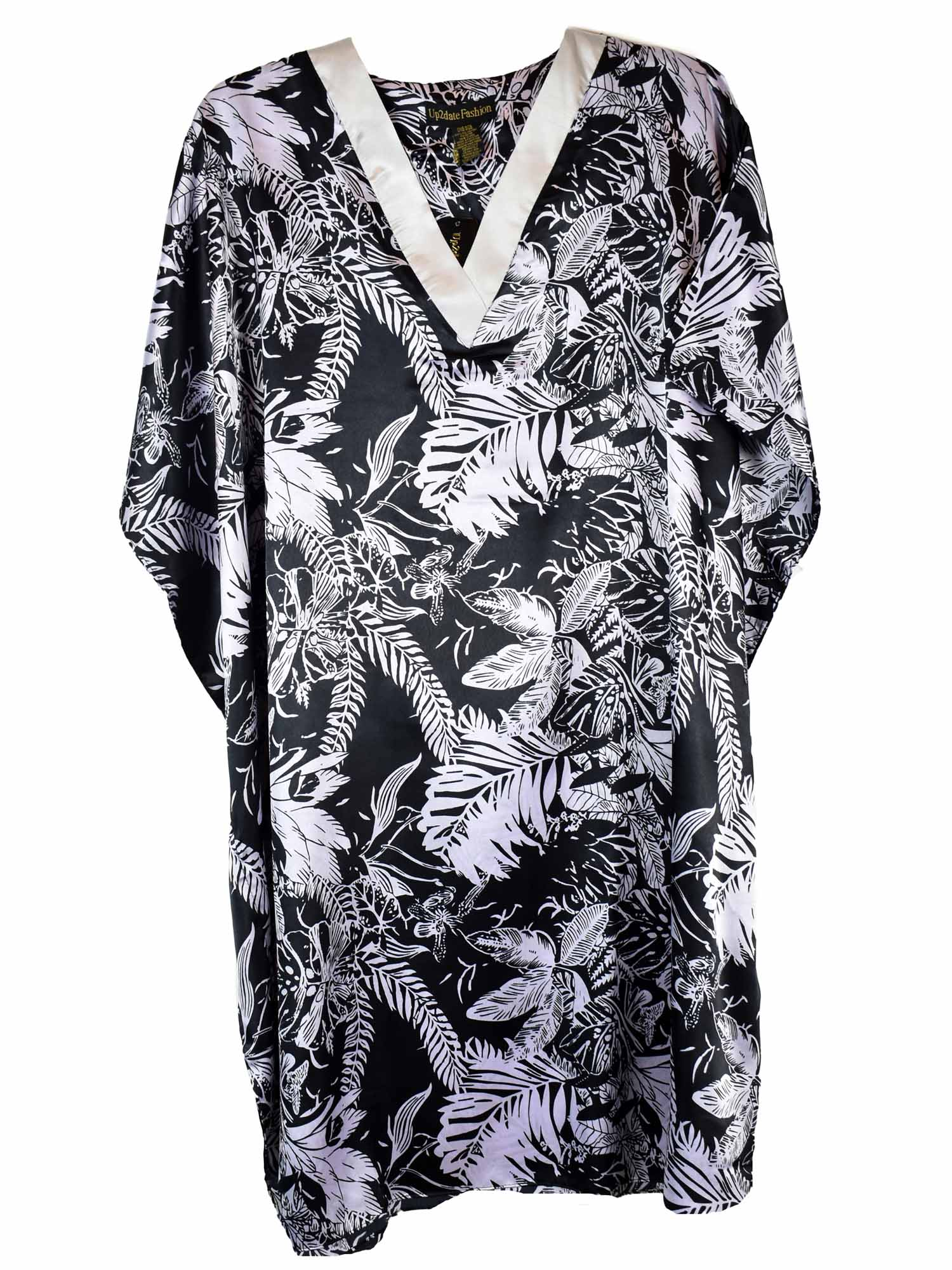 Women's Short Satin Caftan / Kaftan / Muumuu, Midnight Leaves Print