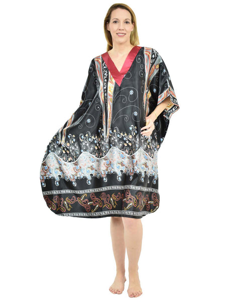 Women's Short Satin Caftan / Kaftan / Muumuu, Desert Nights Print