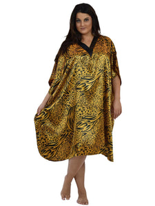 Women's Short Satin Caftan / Kaftan / Muumuu, Animal Print