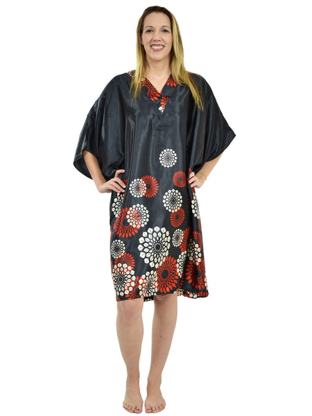 Women's Short Satin Caftan / Kaftan / Muumuu, Midnight Spheroid Print