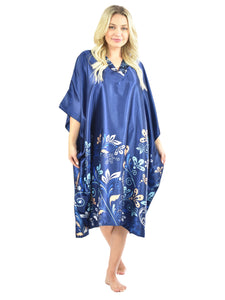 Women's Short Satin Caftan / Kaftan / Muumuu, Midnight Dream Floral Vine Print in Blue