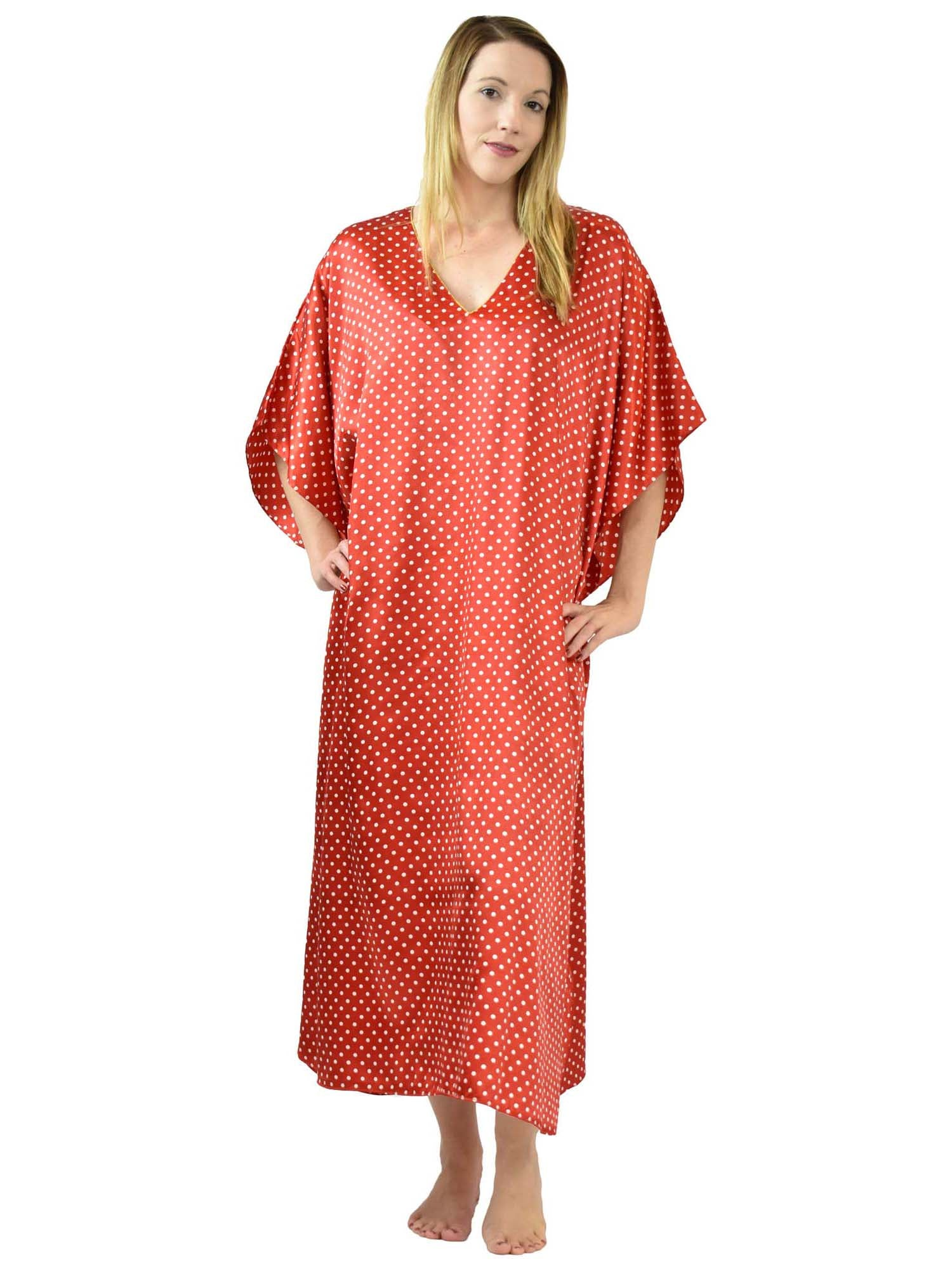 Women's Long Satin Caftan / Kaftan / Muumuu, Red with Polka Dots Print