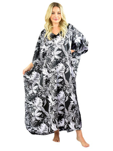 Women's Long Satin Caftan / Kaftan / Muumuu, Midnight Leaves Print
