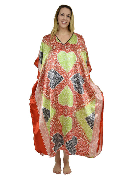 Women's Long Satin Caftan / Kaftan / Muumuu, Queen of Hearts Print