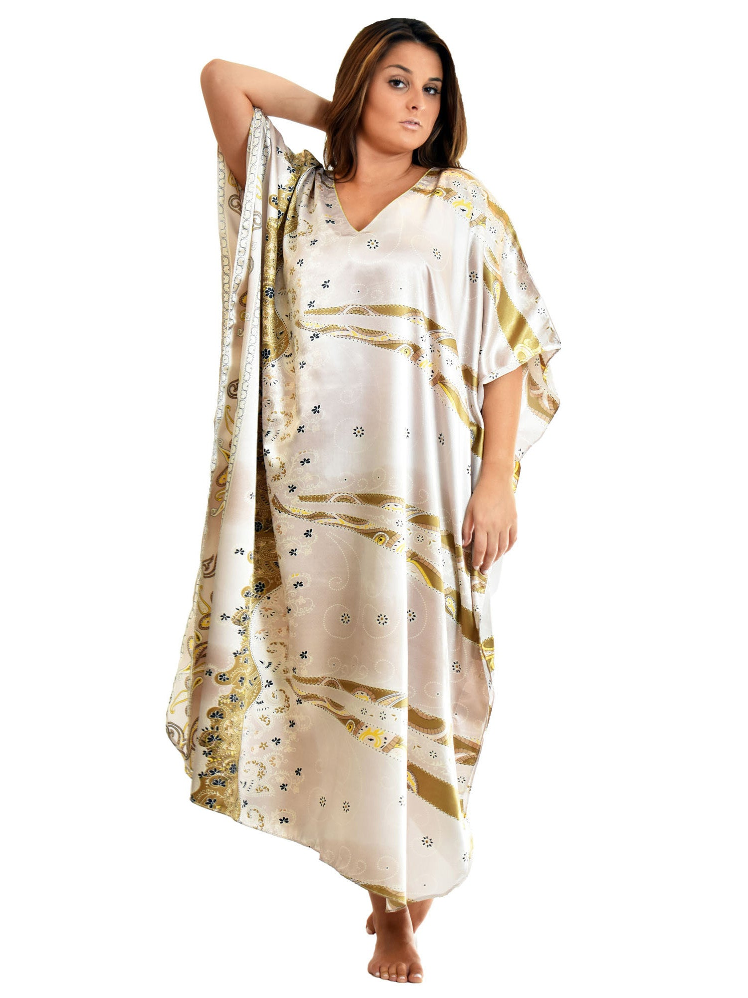 Women's Long Satin Caftan / Kaftan / Muumuu, Desert Winds Print