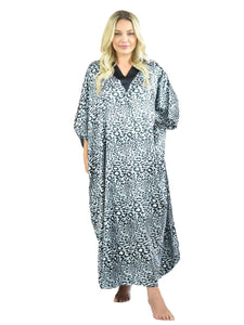Women's Long Satin Caftan / Kaftan / Muumuu, Metallic Cheetah Animal Print