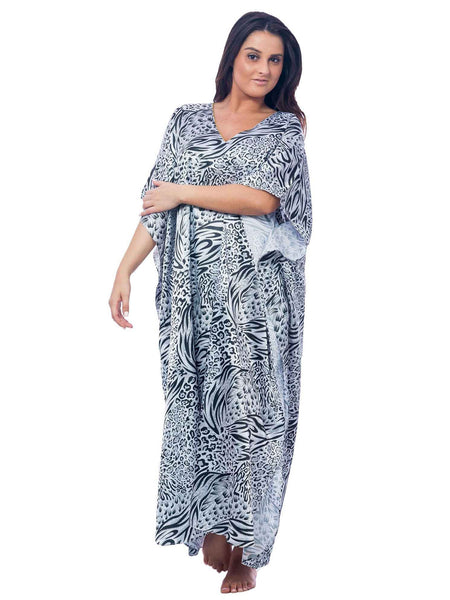 Women's Long Satin Caftan / Kaftan / Muumuu, Classic Animal Print
