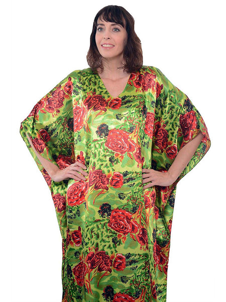 Women's Long Satin Caftan / Kaftan / Muumuu, Bright Red and Green Floral Print