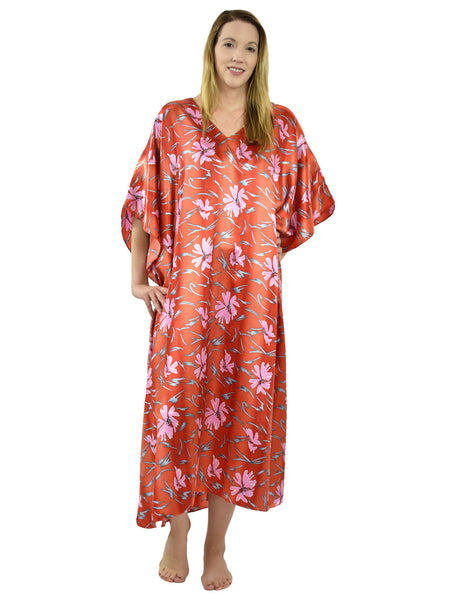 Women's Long Satin Caftan / Kaftan / Muumuu, Red Underwater Lilies Print