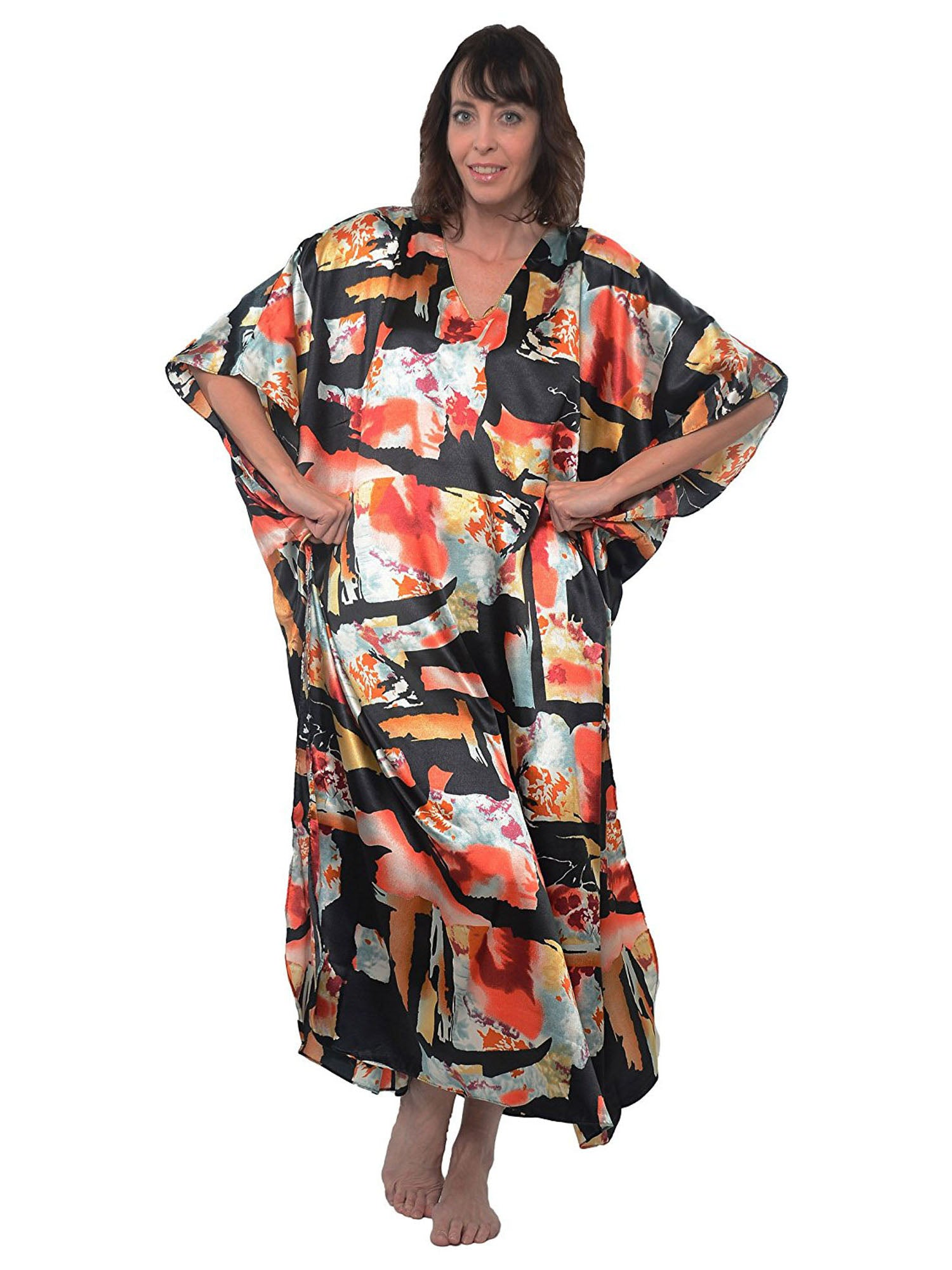 Women's Long Satin Caftan / Kaftan / Muumuu, Faux Cut-Out Art Print