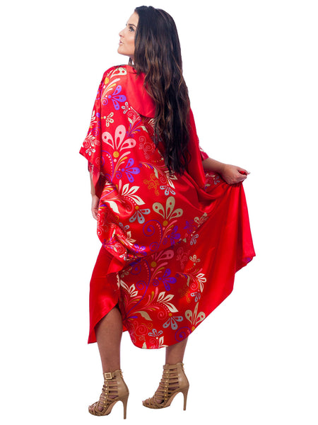 Women's Long Satin Caftan / Kaftan / Muumuu, Charming Red Floral Vines Print