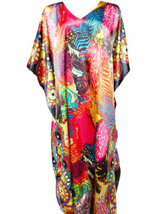 Women's Long Satin Caftan / Kaftan / Muumuu, Midnight Safari Print